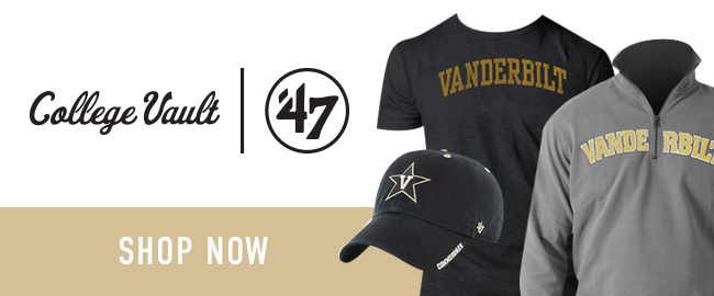 Picture of shirts and hat. College Vault | 47. Click to shop now.