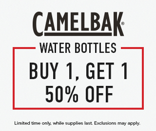 Camelbak Water Bottles: buy 1, get 1 50% off. Limited time only, while supplies last. Exclusions may apply. Click to shop now.