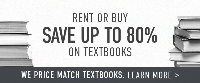 Picture of textbooks. Rent or buy. Save up to 80% on textbooks. We price match textbooks. Click to learn more.